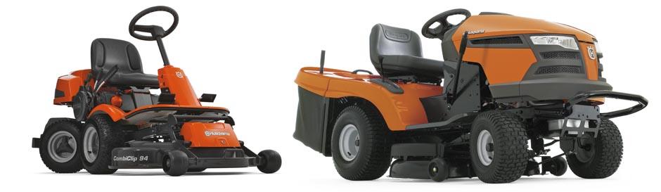 Åkgräsklippare och traktor